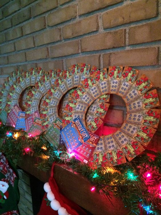 Christmas Instant Lottery Ticket Wreath For Grab Bag