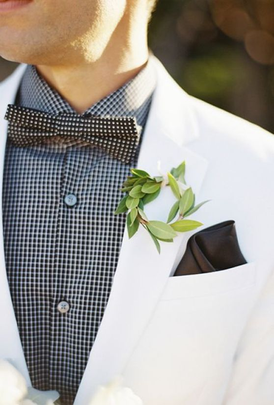 Brides: Greenery Wreath Boutonniere. Your groom will certainly stand out wearing a stylish miniature wreath fashioned from fresh greenery on his jacket.: