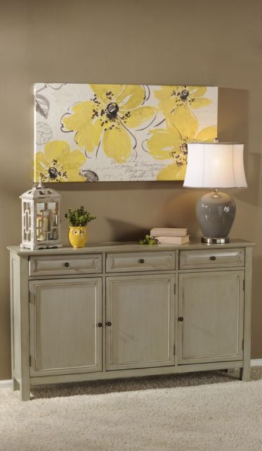 gray on green/greige with a hit of yellow  - painted furniture: