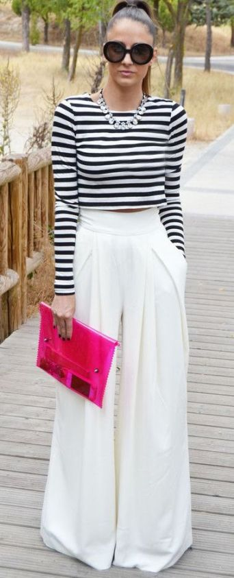 Spring Trends 2015: Black & White; Stripes; Wide leg Trousers; Colorful accessories - SUCH A BEAUTIFUL, ELEGANT SET: