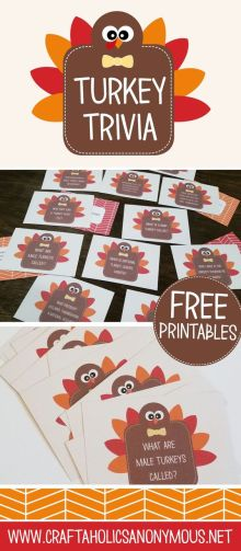 Craftaholics Anonymous® | Thanksgiving Table Craft: Turkey Trivia Cards: