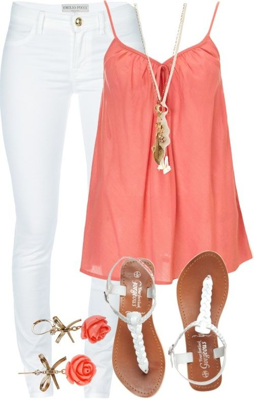 I would never wear white pants. But I love everything else about this outfit!: