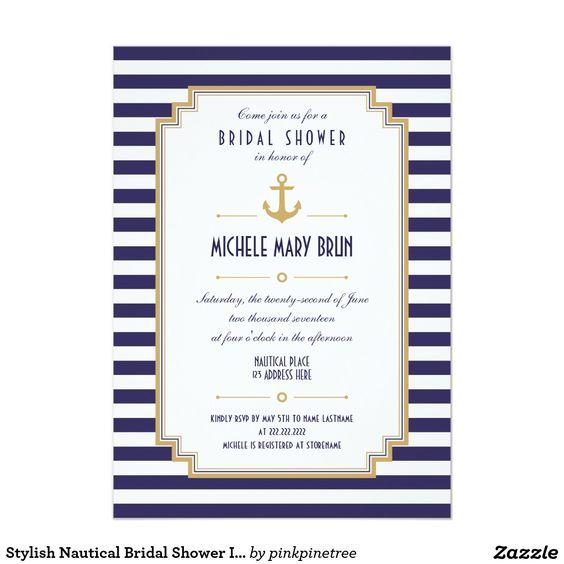 Stylish Nautical Bridal Shower Invitation: