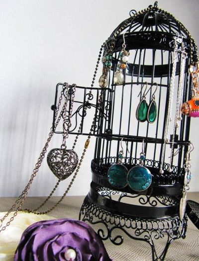 Bird Themed Home Decor Black Wire Bird Cage Jewelry Storage Earring Necklaces Flowers Pearls
