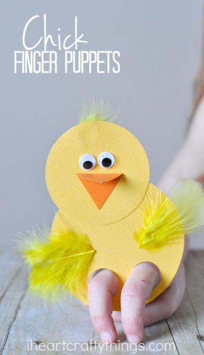 Easter Chick Finger Puppet Craft for Kids