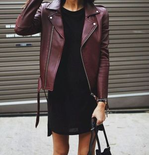 Street style 101: Rework your LBD by throwing on a burgundy leather jacket.: