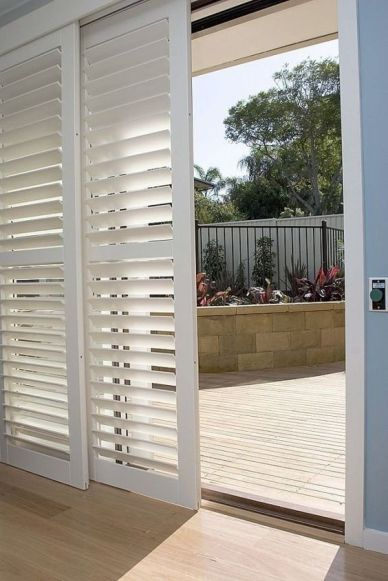 Shutters for sliding glass doors