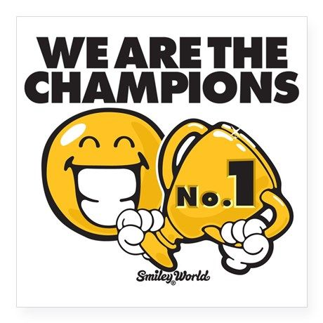 "We are the champions Square Sticker 3"" x 3"" on CafePress ..."