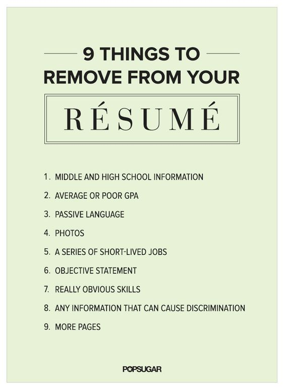 Here are some details you should remove from your résumé.: