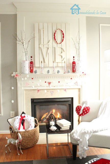 Pretty, Classy and Simple Red and White Valentine's Day Mantel Decorations and LOVE sign tutorial via Remodelando la Casa