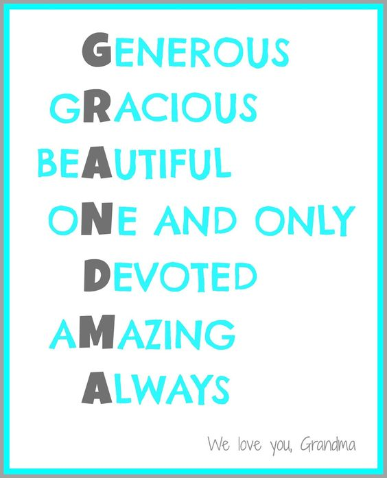 Acrostic Poem Grandma Mothers Amp Fathers Day