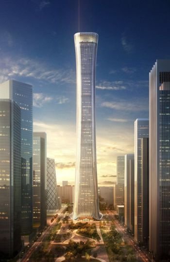 A render of China Zun Tower, showing what it will look like after completion.