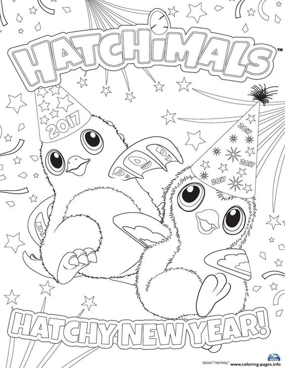 print hatchimals happy newyear  hatchy coloring pages