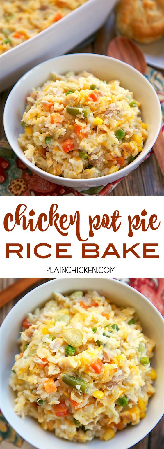 30 Minute Chicken Pot Pie Rice Bake Recipe via Plain Chicken - chicken, mixed vegetables, cheddar, cream of chicken, sour cream and rice. Ready in 30 minutes! A whole meal in one pan. No need for extra sides!! We love to serve this with some buttermilk biscuits to complete the meal. Everyone loves this easy casserole dish! - The BEST 30 Minute Meals Recipes - Easy, Quick and Delicious Family Friendly Lunch and Dinner Ideas