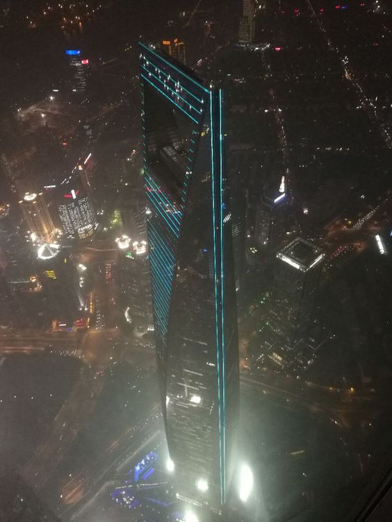 Looking down at Shanghai World Financial Center
