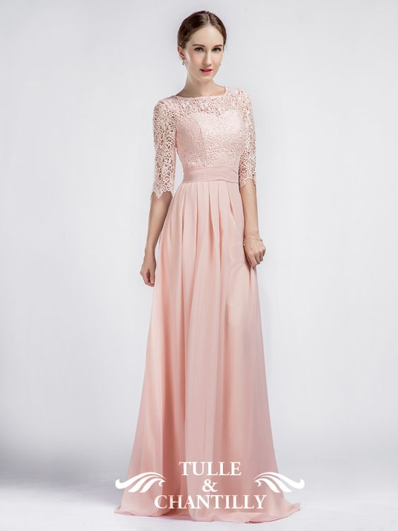 Pink Boat Neck Lace Sleeves Bridesmaid Dress with Chiffon Skirt: