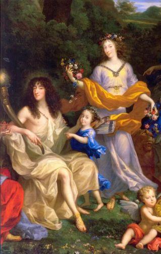 Philippe de France, Monsieur, duc d'Orléans, en 'Point du Jour', avec sa femme Henriette-Anne d'Angleterre, en Flore, et leur fille Marie-Louise, future reine d'Espagne, en Psyché, par Jean Nocret