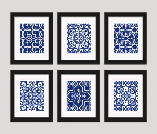 blue and white tile replicas