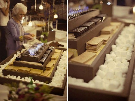 Winter Weddings S'more Bar Chocolate Marshmallow Graham Crackers Appetizers Wedding Guests Buffet