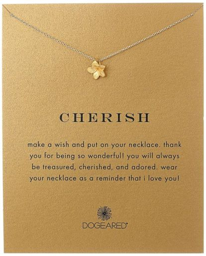 "Amazon.com: Dogeared ""Reminders"" Cherish-Plumeria Gold Charm Necklace, 18""…:"