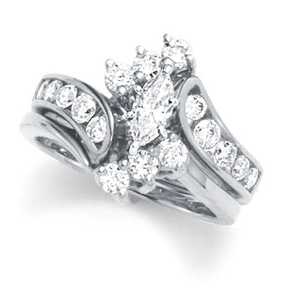 1 CT TW Diamond Double Frame Past Present Future Ring