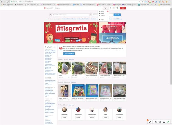 Home Layout Aplikasi Marketplace Carousell Website