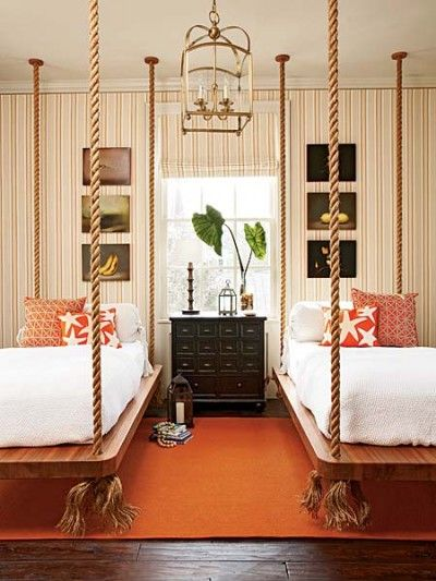 Swing beds add novelty to the guest room: