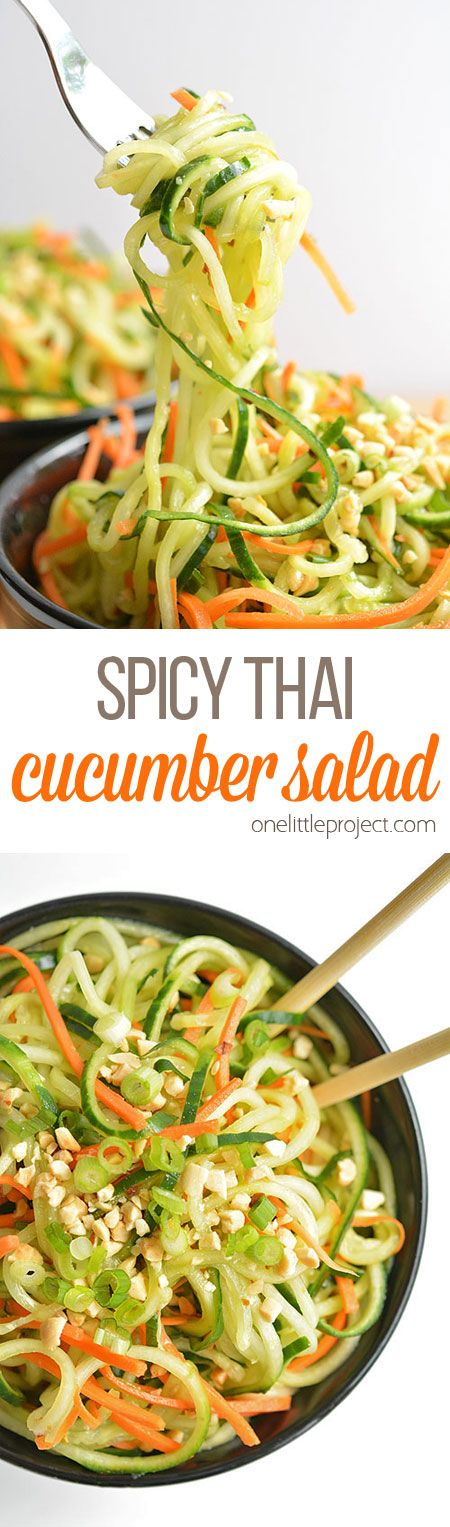 Spicy Thai Cucumber Salad Recipe via One Little Project - This salad is soooo good and it uses simple ingredients! It has a touch of sweetness, a hint of spiciness and an awesome Asian flavour!