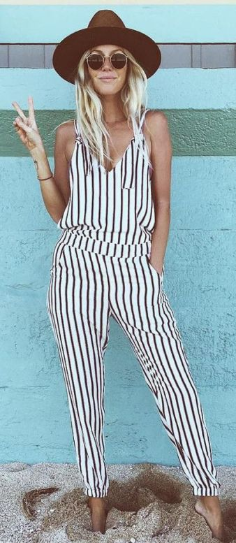 A striped jumpsuit is the best boho outfits for any trip!