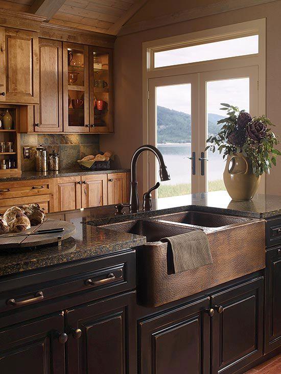sinks masculine kitchen and farmhouse on pinterest on farmhouse kitchen maple cabinets id=75381