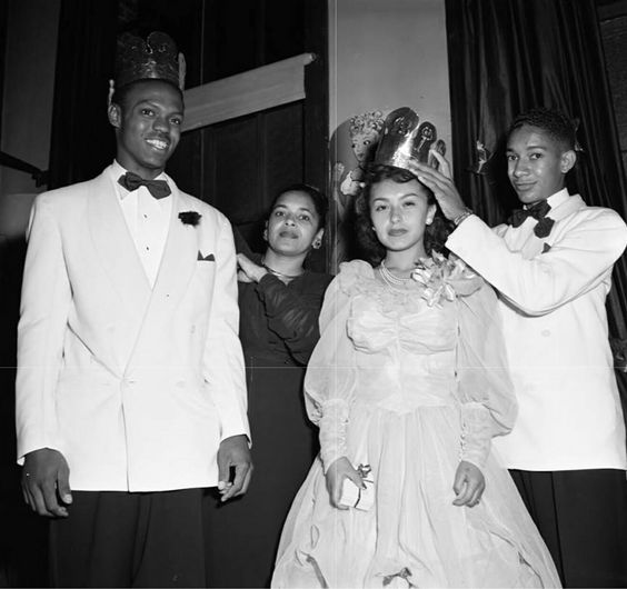 Los Angeles Jefferson High School Prom King and Queen way way back in 1949 a�� at i??Thomas Jefferson Senior High.