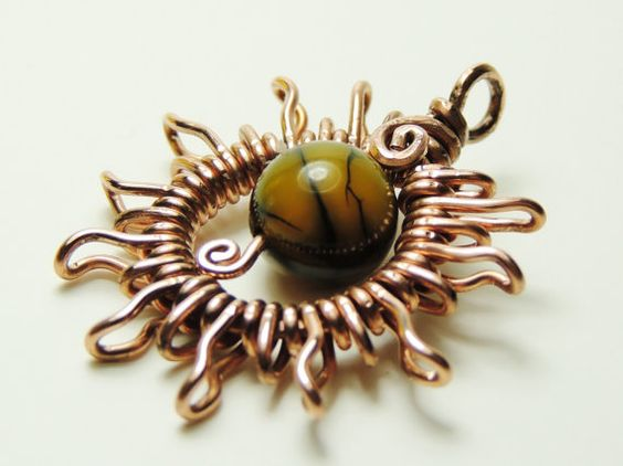 Sun Pendant Wrapped In Copper Wire Handmade By Keoops8