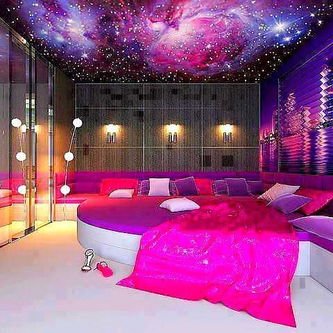 The bedroom is a girls best friend with pink and purple P ... on Best Rooms For Girls  id=77194