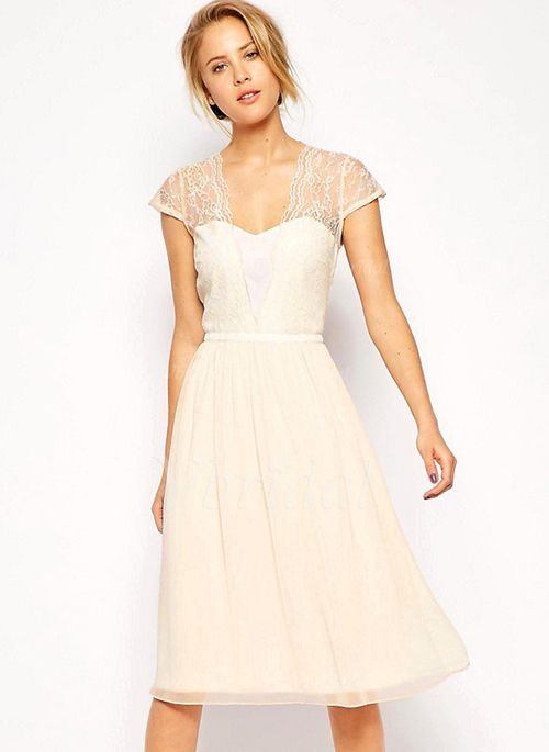 Bridesmaid Dresses - $110.41 - A-Line/Princess Sweetheart Knee-Length Chiffon Bridesmaid Dress With Lace (0075098553):