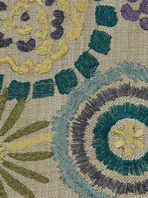 Modern Upholstery Fabric In An Embroidered Design Of Teal Purple Sage Green Baby Blue And
