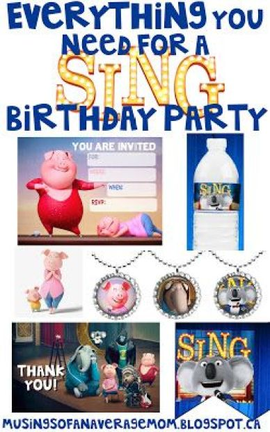 Everything you need for a SING birthday party including tons of free printables !!!: