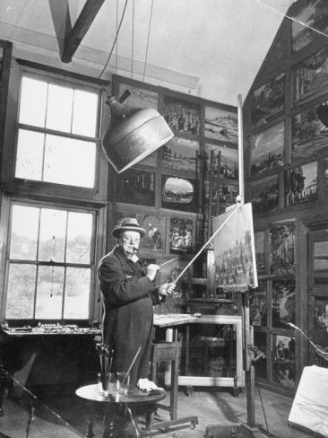 Prime Minister Winston Churchill Painting in His Studio Premium Photographic Print at AllPosters.com: