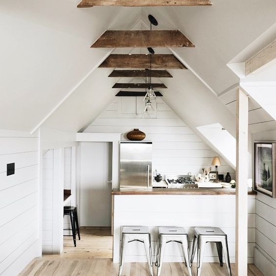 Mini kitchen in Massachusetts (via @remodelista) #schoolhouseelectric #lowellpendant / shop our feed - link in profile: