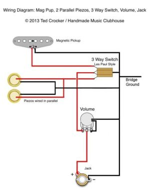 Ted Crocker wiring diagram  1 Single Coil, 2 Piezo, 1 Vol