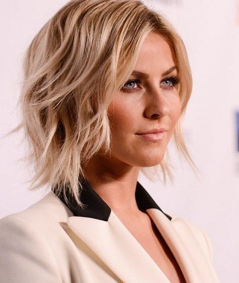Short to mid length shag blonde haircut