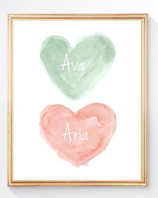 Coral and Mint Nursery Peach and Mint by OutsideInArtStudio: