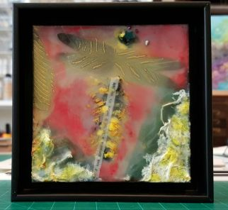 """dragonfly"" 4x4 encaustic"