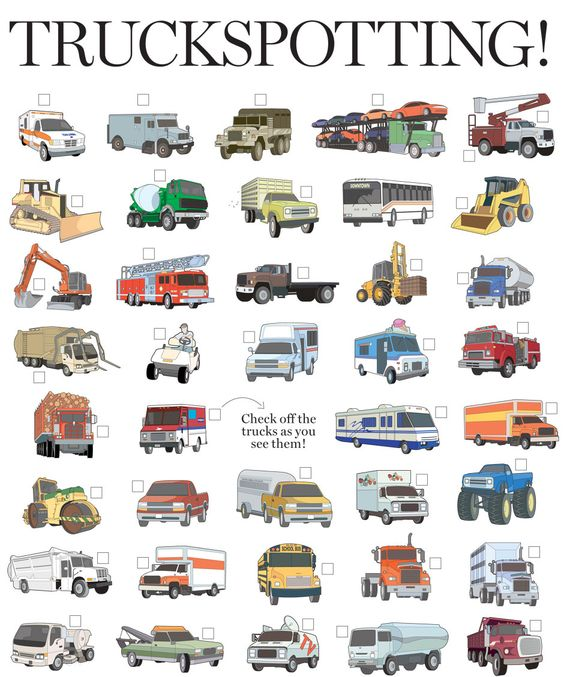 Road Trip Truck Checklist - Kids can look at pictures and check off what they find.: