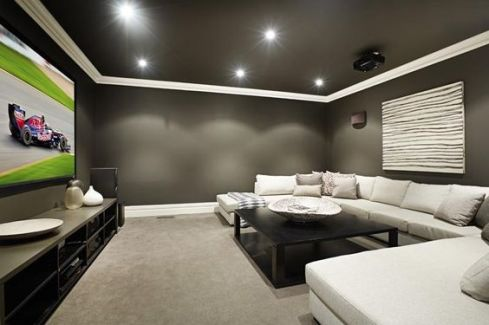 Design tips for turning your basement into a media room decorated life - Best paint color for home theater ...