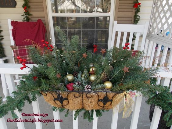 christmas balcony basket via our eclectic life our house pinterest porches baskets and on christmas balcony decorations apartment patio id=70829