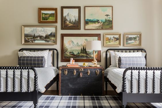 Stephanie Sabbe - two twin beds - boys' bedroom - Nashville Interior Designer: