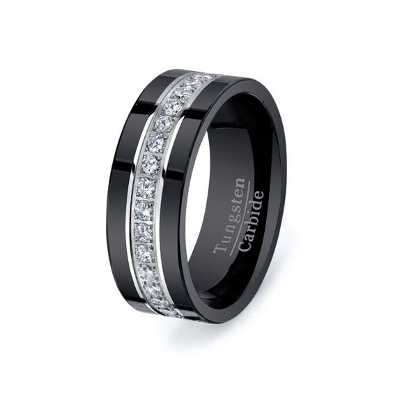 Rare Black Tungsten Carbide Ring Stacked Fully With