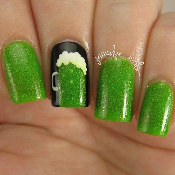 Shimmery Green Beer Nail Art. #Saintpatricksday: