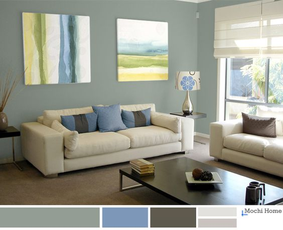 Light Sage Green Living Room With Blue Accents. Relaxing