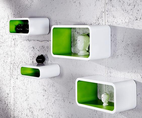 4 Set Wit-groen. Retro Wandkubussen